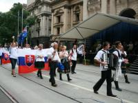 The Slovaks passing the Melbourne town hall