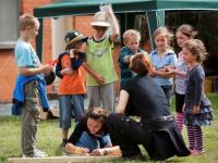 Girls conducting the kids' activities