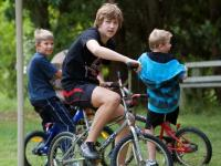 Kids on bicycles at Sumava
