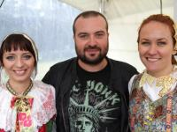 Ivan Tasler with girls in traditional costumes